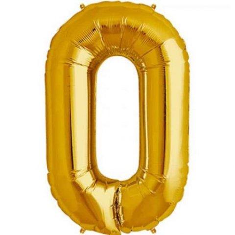 Cijfer 0 goud Folieballon 85cm hoog foto