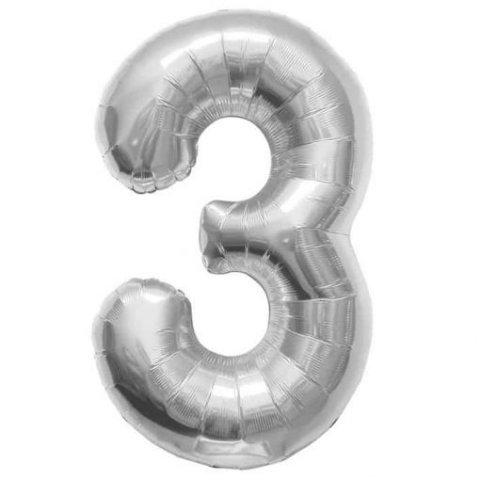 Cijfer 3 zilver Folieballon 85cm hoog foto