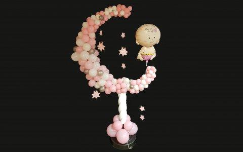 Ballonnen maan roze of blauw foto