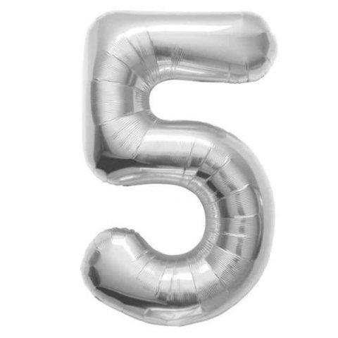 Cijfer 5 zilver Folieballon 85cm hoog foto
