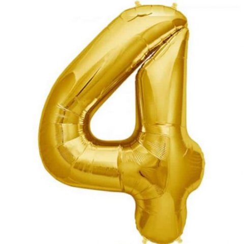 Cijfer 4 goud Folieballon 85cm hoog foto