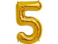 Cijfer 5 goud Folieballon 85cm hoog