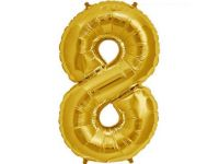 Cijfer 8 goud Folieballon 85cm hoog