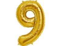 Cijfer 9 goud Folieballon 85cm hoog