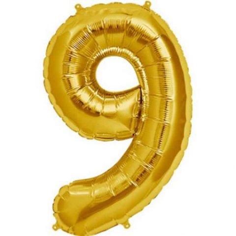 Cijfer 9 goud Folieballon 85cm hoog foto