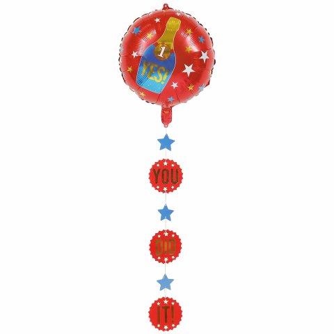 Geslaagd folieballon met hanger rood foto