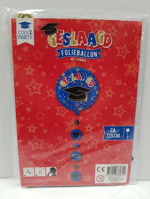 Geslaagd folieballon met hanger blauw foto