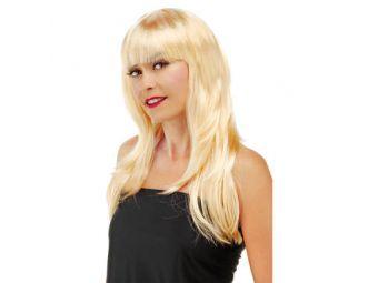 Pruik lang haar pony blond
